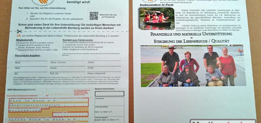 Hand in Hand - Förderverein der Lebenshilfe Bamberg e.V.: Din A4-Einleger mit Perforationslinie