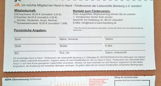 Hand in Hand - Förderverein der Lebenshilfe Bamberg e.V.: Din A4-Einleger mit an der Perforationslinie abgetrenntem Überweisungsträger