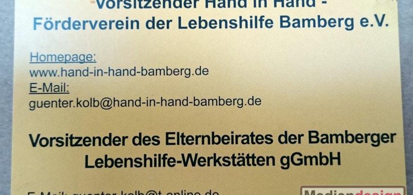 Hand in Hand - Förderverein der Lebenshilfe Bamberg e.V.: Visitenkarte Rückseite