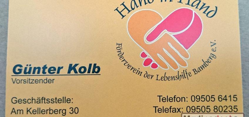 Hand in Hand - Förderverein der Lebenshilfe Bamberg e.V.: Visitenkarte Vorderseite