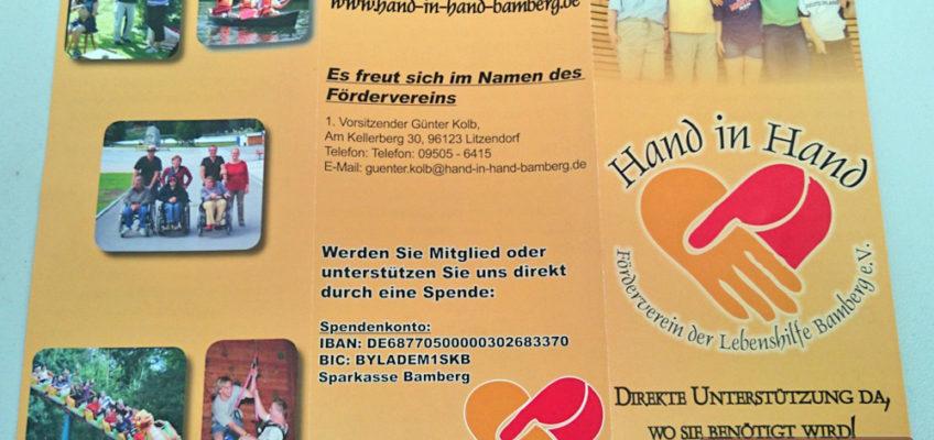 Hand in Hand - Förderverein der Lebenshilfe Bamberg e.V.: Falzflyer offen - Außenseite