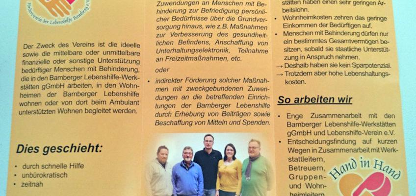 Hand in Hand - Förderverein der Lebenshilfe Bamberg e.V.: Falzflyer offen - Innenseite