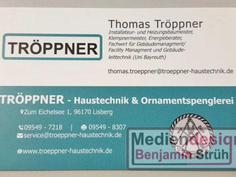 Visitenkarte Fa. Tröppner - Haustechnik & Ornamentspenglerei | Vorderseite Thomas Tröppner