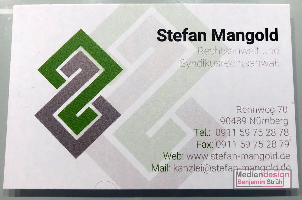 Visitenkarte Für Rechtsanwalt Stefan Mangold Mediendesign