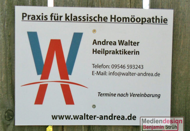 Heilpraktikerin Andrea Walter: Praxisschild