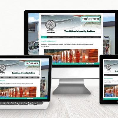 Tröppner Haustechnik & Ornamentspenglerei: Wordpress-Website