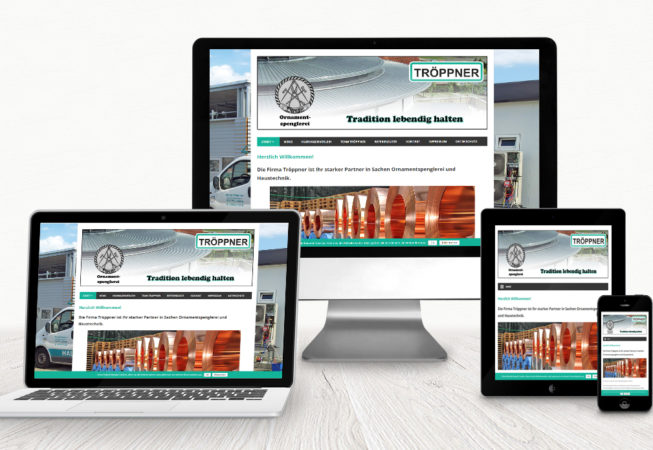 Tröppner Haustechnik & Ornamentspenglerei: Wordpress-Website